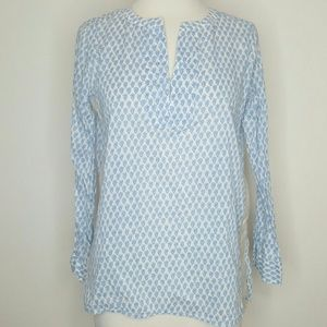 Blue and white print popover top blouse